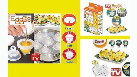 Revoluční forma na vaření vajíček! Již žádné skořápky po vajíčkách, jen dokonalý tvar i po uvaření díky revolučním nádobkám na vaření vajíček Eggies za skvělých 199 Kč. Vyzkoušejte produkt známý z TV.