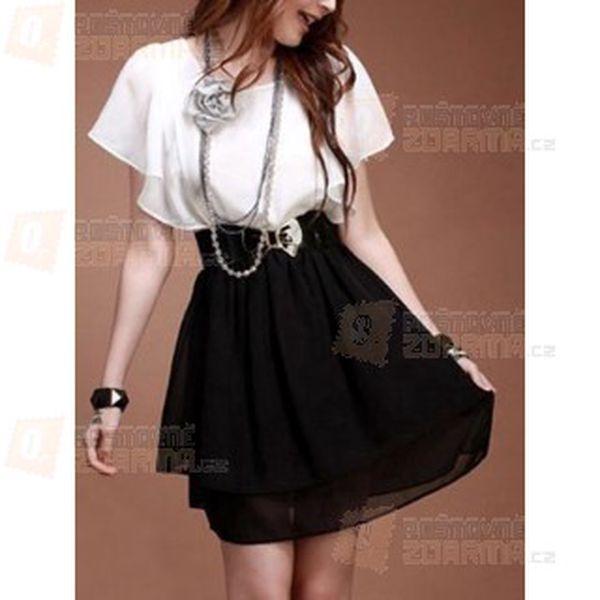 Černo-bílé šaty s ozdobnými rukávy a páskem s motivem květiny a poštovné ZDARMA! - 9708803