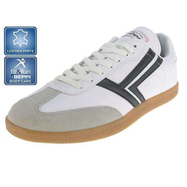 Pánské bílé pruhované sportovní tenisky Beppi