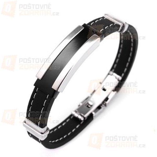 Náramek pro muže - černo-stříbrná barva a poštovné ZDARMA! - 9508831