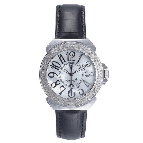 Dámské analogové hodinky s černým páskem a diamanty Lancaster