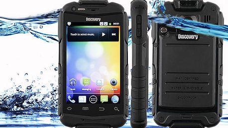 Vodotěsný smartphone, 2 kamery, Dual SIM, černá barva