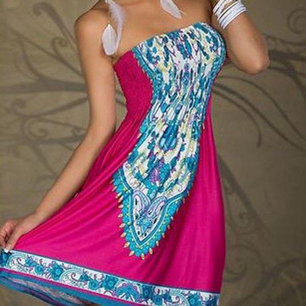 Letní šaty k moři magenta, růžové s krásným vzorem