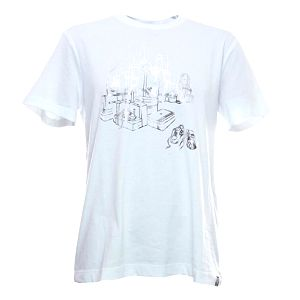 Pánské bílé tričko s potiskem na hrudi Adidas