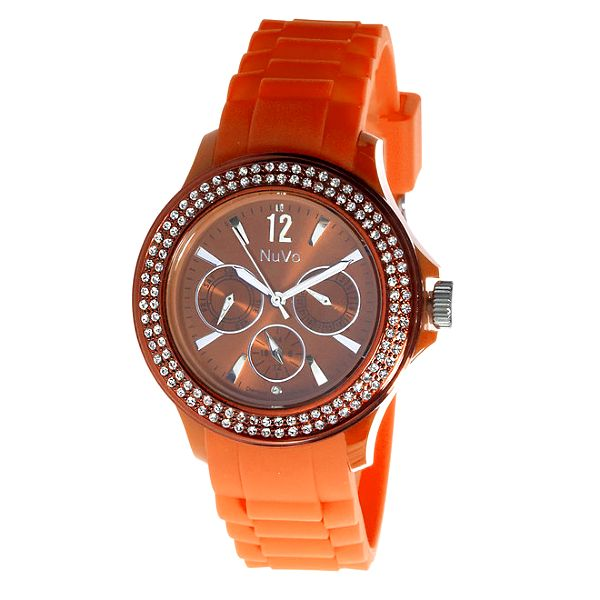 Oranžové hodinky NuVo se Swarovski Elements