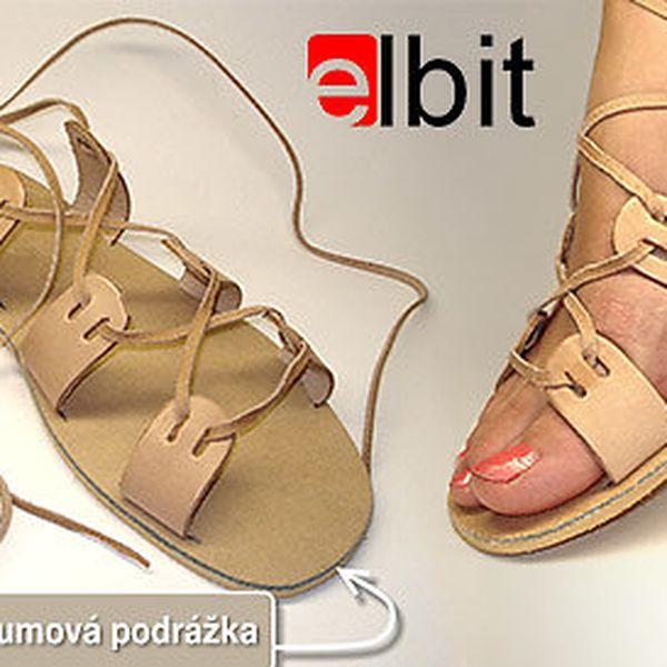 Kožené letní sandály na zavazování