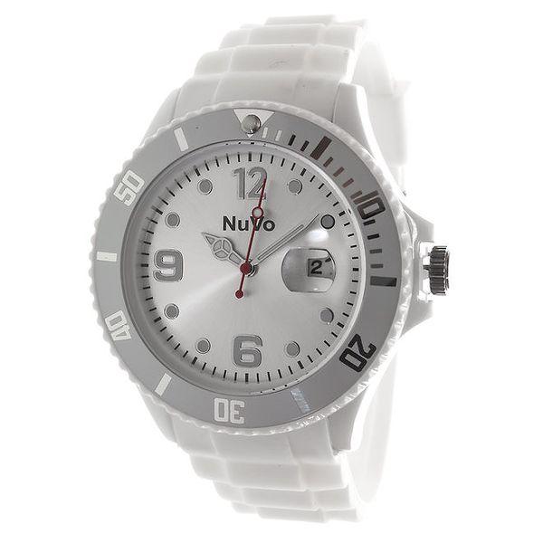 Bílé hodinky s datumovkou NuVo