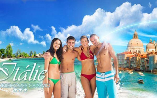 OSMIDENNÍ dovolená až pro 6 osob na italském pobřeží Jaderského moře za neuvěřitelných 5990 Kč! UBYTOVÁNÍ v luxusních mobilhomech ve 3* kempu Ca′Savio s výhledem na moře a na benátskou lagunu! BENÁTKY na dosah, jen 8 km!