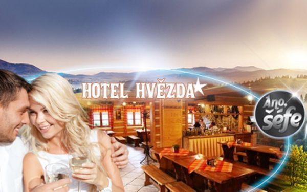 Romantický pobyt v centru Pece pod Sněžkou v hotelu Hvězda, oceněném v pořadu Ano šéfe! Ubytování pro s POLOPENZÍ a LAHVÍ VÍNA jen za 1920 Kč PRO DVA! Ideální místo pro turistiku nebo KOLA! Platnost až do konce září 2014!