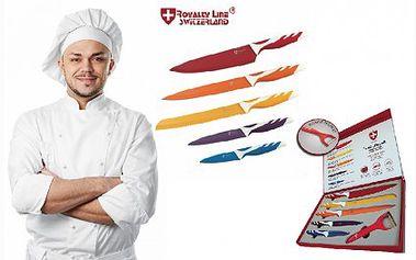 Pětidílná sada titanových nožů s keramickou vrstvou, vyznačující se dlouho životností. Tyto laserem nabroušené nože jsou vhodné pro každodenní použití i díky ergonomické rukojeti.