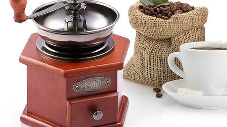 Dřevěný mlýnek na kávu v retro stylu