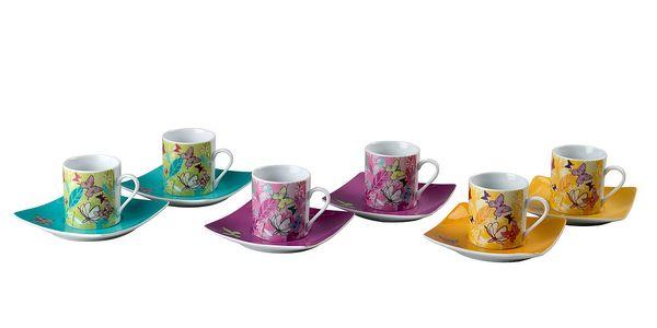 Sada 6 porcelánových hrnků s podšálky Butterfly