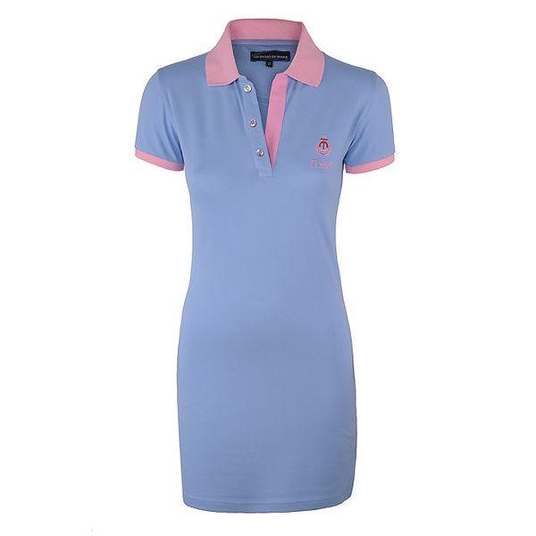 Dámské modré šaty s růžovým límečkem Giorgio di Mare