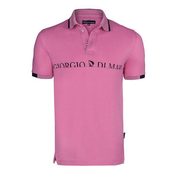 Pánské růžové polo triko s nápisem na hrudi Giorgio di Mare