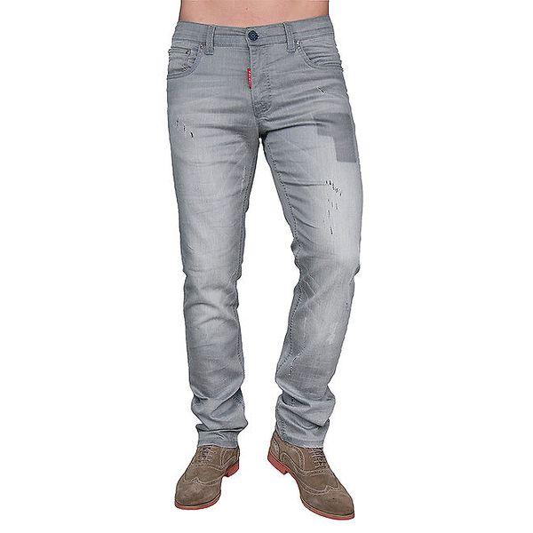 Pánské šedé džíny s oděrkami Giorgio di Mare