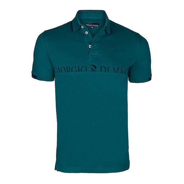 Pánské zelené polo triko s nápisem na hrudi Giorgio di Mare