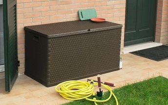 Zahradní úložný box Rattan, zahradní úložná bedna na nářadí a polstry Rattan
