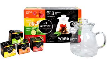 Velta Tea Mystify Blooming Tea Dárkový set s konvičkou - Black: 4 druhy kvetoucího čaje 6 g + skleněná konvička 0,6 l.