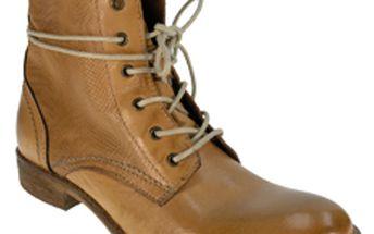 Dámské karamelově hnědé kotníkové šněrovací boty Red Hot