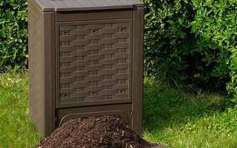 Kompostér Rattan 300l., zahradní plastový kompostér v hnědé barvě