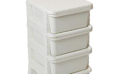Úložný box Komoda RATTAN se 3 zásuvkami - vanilková