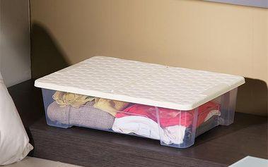 Pojízdný úložný box - AKCE, Úložný box RATTAN s víkem a kolečky 25L - béžový - AKČNÍ NABÍDKA