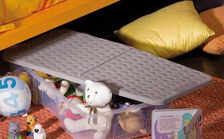 Pojízdný úložný box RATTAN - AKCE, Úložný box RATTAN s víkem a kolečky 35L - šedý- AKČNÍ NABÍDKA