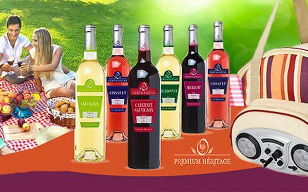 Šest francouzských vín Heritage v praktické termotašce s rádiem