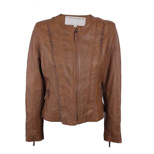 Dámská hnědá kožená bunda s prošíváním Company&Co
