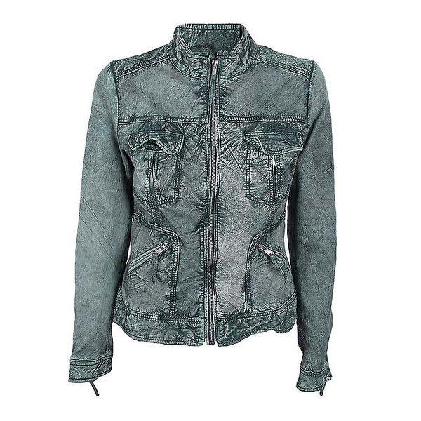 Dámská kožená bunda v denimovém odstínu Company&Co