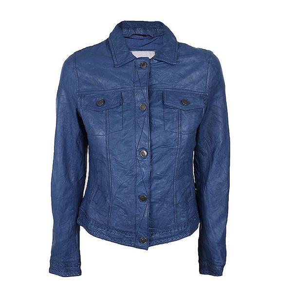 Dámská modrá bundička z kůže Company&Co