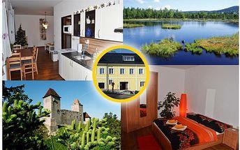 Prožijte tři dny v krásné přírodě Národní parku Šumava! Ubytování pro čtyři v nových a kompletně zařízených apartmánech na Šumavě.