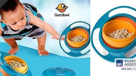 Konec sbírání jídla ze země. Nevyklopitelná miska Gyro Bowl dětem přináší radost a rodičům klid i při divokém běhání jejich ratolestí.