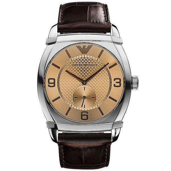 Pánské analogové hodinky s hnědým páskem Emporio Armani