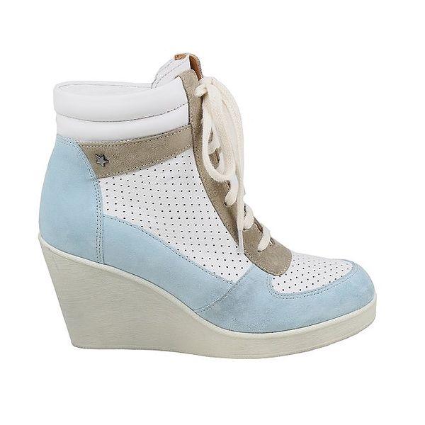 Dámské modro-bílé vyšší tenisky na klínu Cubanas Shoes