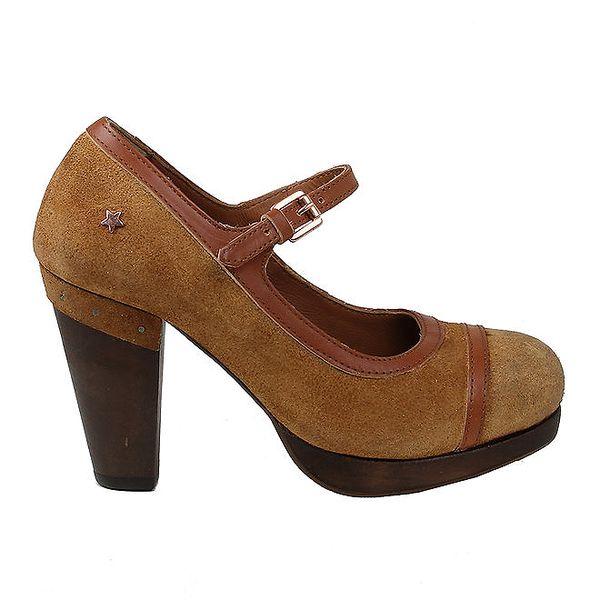 Dámské hnědé kožené boty na podpatku Cubanas Shoes