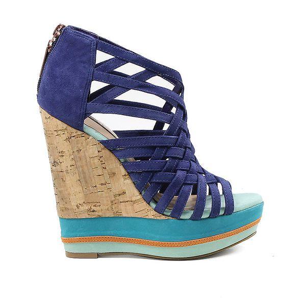 Dámské páskové boty na vysokém klínku ve fialovomodré barvě Cubanas Shoes