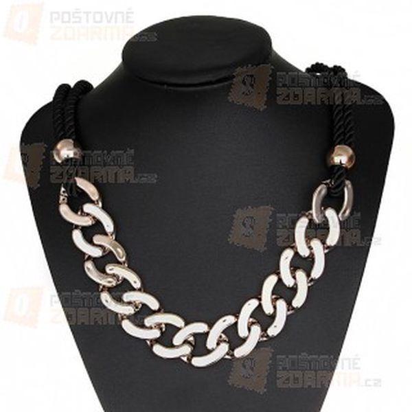 Zlatý řetěz s kombinací černého spirálového provázku a poštovné ZDARMA! - 10108985