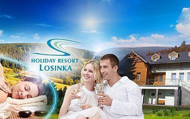 Last minute jeseníky! Třídenní wellness pobyt pro 2 osoby s polopenzí a neomezenou konzumací alko i nealko nápojů již od 2299 kč pro dva! V ceně pobytu je dále relaxační masáž pro oba! Odpočinek v holiday resortu losinka!