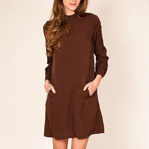 Hnědé volné šaty