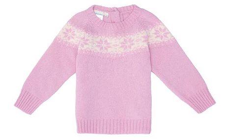 Růžový svetr s vločkami