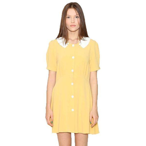 Dámské žluté šaty s bílým límečkem Pepa Loves