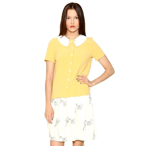 Dámská žlutá košile s bílým límečkem Pepa Loves