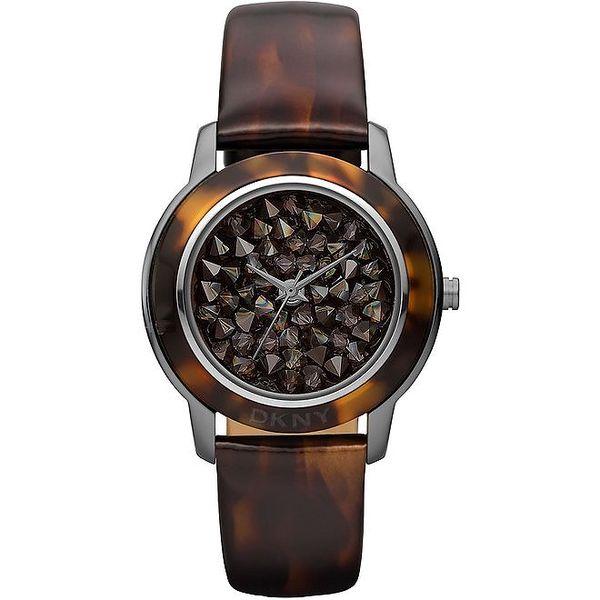 Dámské hnědé analogové hodinky se žíháním DKNY