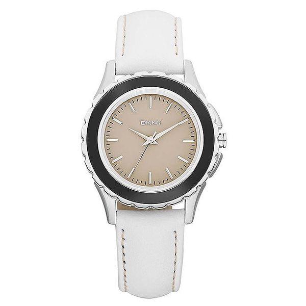 Dámské analogové hodinky s tmavou lunetou DKNY