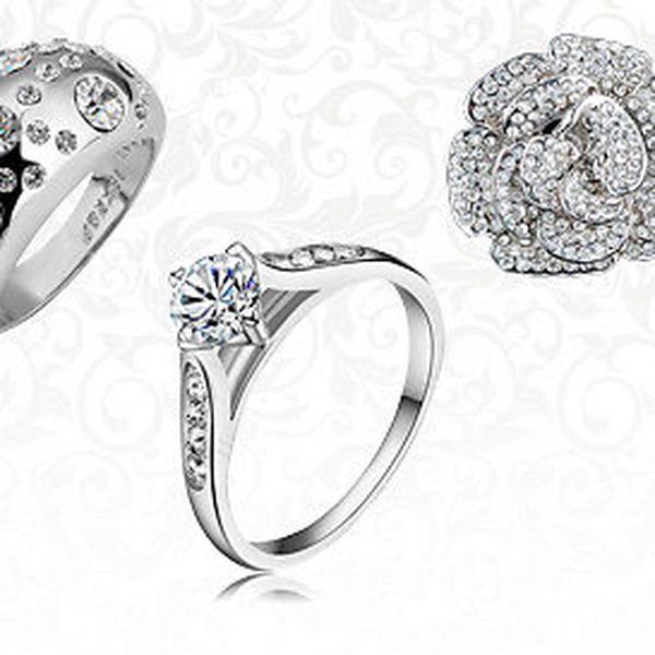 Prsteny s českými krystaly a pravým zlatem