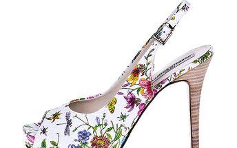 Dámské bílé lodičky s květinovým potiskem Roberto Botella
