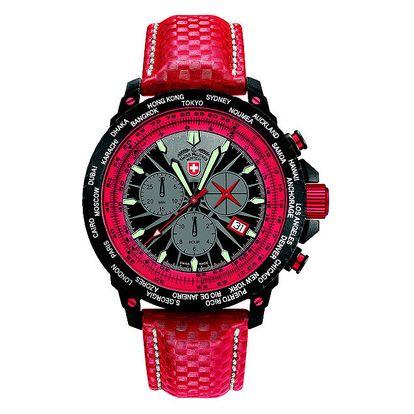 Pánské červené hodinky s chronografem Swiss Military