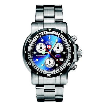 Pánské ocelové hodinky s chronografem a modrým ciferníkem Swiss Military