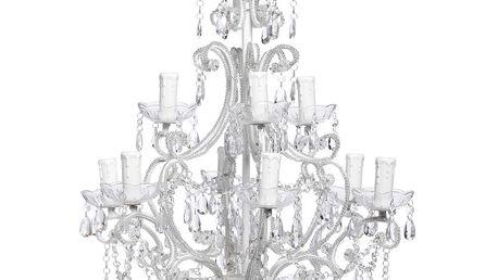 Kovový lustr jako ze zámku - White pearls - 2 patra